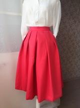 2017 Fashion Midi Skirt in Red Black Women Midi Skirt image 3