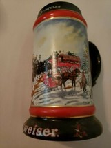 "Budweiser Holiday Beer Stein Mug ""A Perfect Christmas"" Clydesdale Horses... - $9.89"