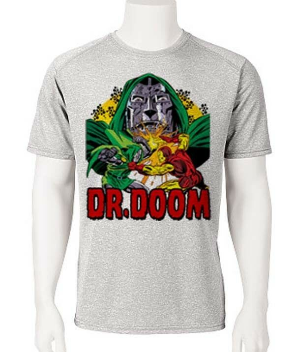 Dr. Doom Dri Fit graphic Tshirt moisture wicking superhero comic book SPF tee