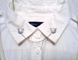 Kitty Collar Pins Silver Cat Sweater Pins Kitten Sweater Clips Cat Colla... - $35.00