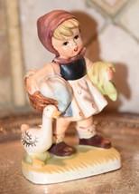 "Vintage Figurine Hummel Style Girl Duck Laundry Chores Fine Porcelain 5.75""H - $21.99"