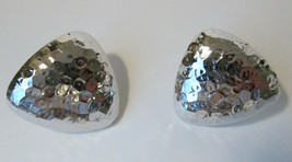 Vtg Avon 1986 METALLIC EFFECTS Clip On Earrings w Box SILVER Tone Textured - $6.30