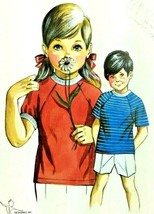 Vtg Sewing Pattern 1960s Boys Girls Ages 2 4 6 Kwik Sew T-Shirt Knits To... - $8.81