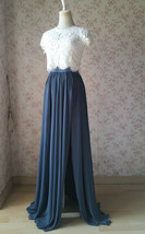 Split Maxi Chiffon Skirt Blue Gray White Wedding Chiffon Skirt Bridesmaid Outfit image 2