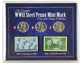 American Coin Treasure WWII Steel Penny Mint Mark & Stamp Collection - $24.99