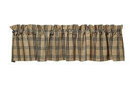 country primitive cabin farmhouse Cottonwood Black & tan plaid VALANCE curtain - $29.95
