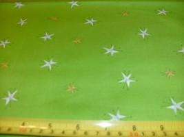 1/2 Yd Andover Quilt Fabric White Yellow Gold Stars on Lime Green - $5.08