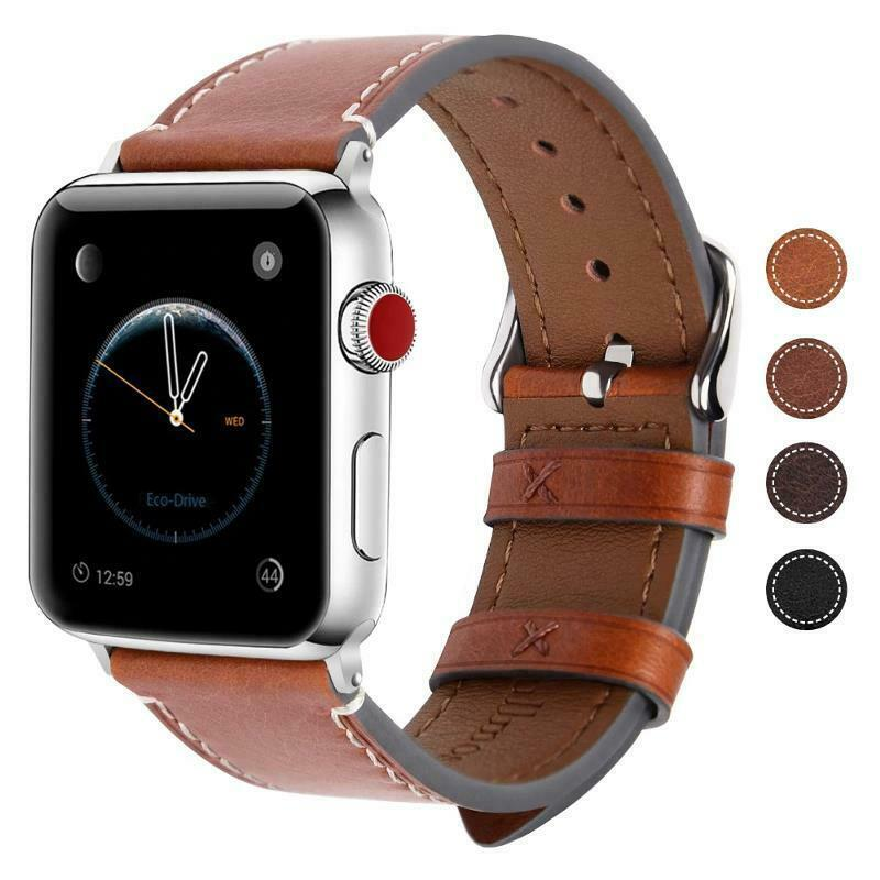 Primary image for Genuine Leather Strap For Apple 1 2 3 4 38mm 40mm 42mm 44mm Vintage Watch Band