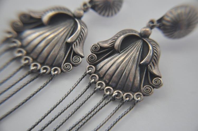 Longest Navajo Sadie Calvin Vintage Earrings Sterling Silver Shoulder Dusters