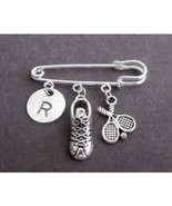 Tennis Kilt Pin, Shoe Charm,Tennis Racket Charm and Initial,Sports Safet... - $11.00