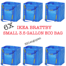 IKEA 6 PACK BRATTBY SMALL 3.5 GALLON BLUE SHOPPING TOTE BAGS  - £15.42 GBP