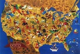Midcentury America USA Folklore Map Vintage Wall Art Poster History Reprint - $12.38