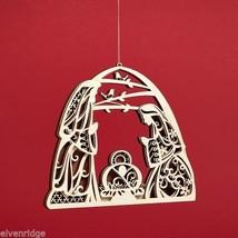 Laser Wood Ornament Flourish Large   Nativity image 2