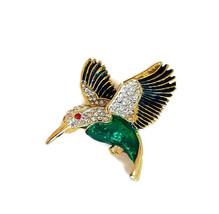 Vintage Hummingbird Brooch - Green & Teal Enamel & Rhinestone Figural Pin  - $20.00
