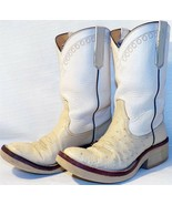 Rios of Mercedes Off White Smooth Ostrich Crepe Cowboy Boots 5.5 C Ladies 6.5-7 - $249.00
