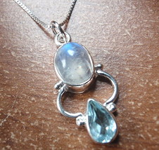 Blue Topaz Faceted Double Gem 925 Sterling Silver Pendant Corona Sun Jewelry
