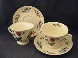 2 Wedgwood Williamsburg Potpourri Cup & Saucer Sets - $11.99