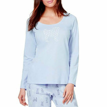 New L CHARTER CLUB Soft Cotton Dot Pug Graphic T-Shirt Long Sleeve Women... - $8.99