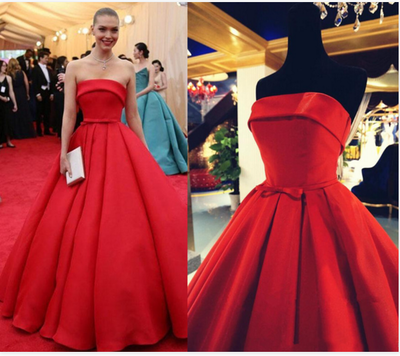 red prom Dress,strapless Prom Dress,A-line prom dress,satin prom dresses