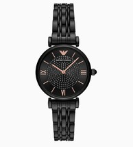 New Emporio Armani AR11245 GIANNI T-BAR Quartz Analog Black Dial Women's Watch - £105.84 GBP