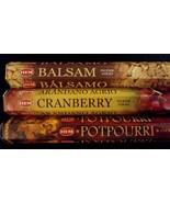 BALSAM Cranberry Potpourri 60 HEM Incense Sticks 3 Scent Sampler Gift Set - $7.00