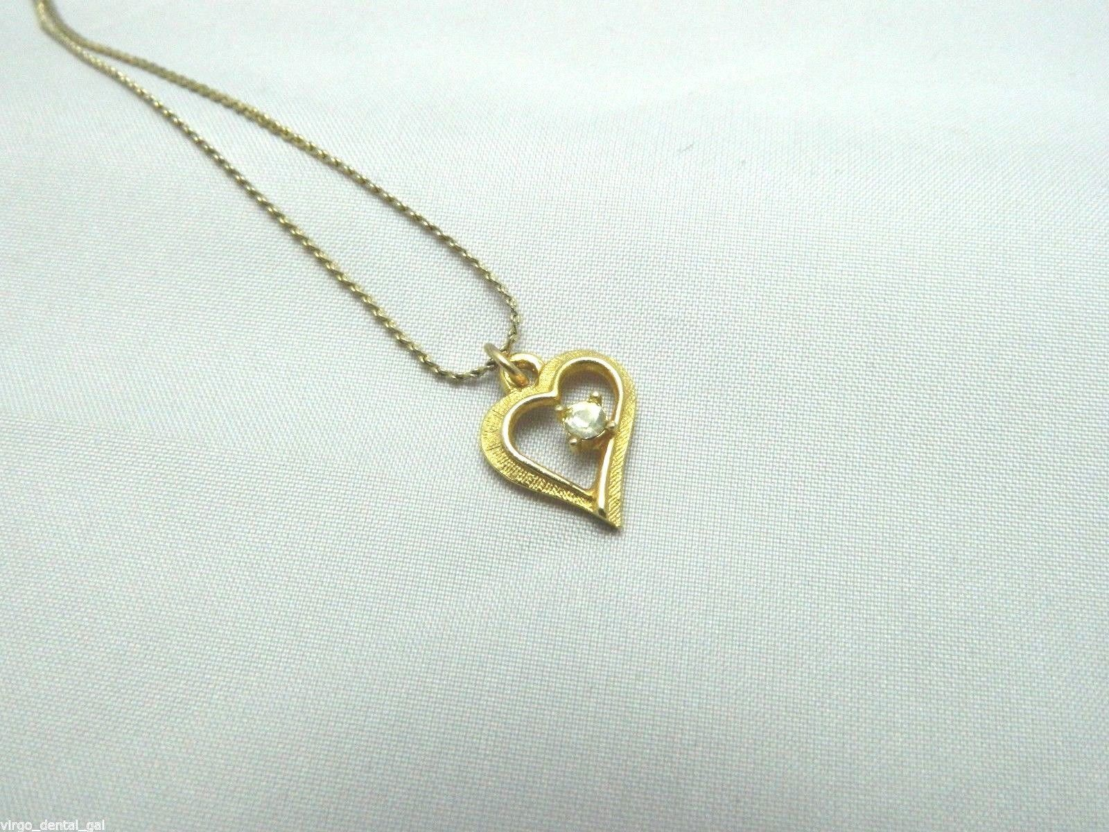 Primary image for Vintage DESIGNER Signed Gold Tone Clear CZ Heart Pendant Necklace
