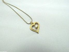 Vintage DESIGNER Signed Gold Tone Clear CZ Heart Pendant Necklace - $9.90