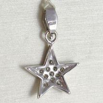 White Gold Pendant 750 18K, Pendant Star, with Zircon, Long 2.4 CM image 3
