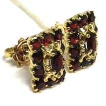 SOLID 18K YELLOW GOLD EARRINGS, SQUARE WITH RED GARNET, LOBE, MADE IN ITALY image 2