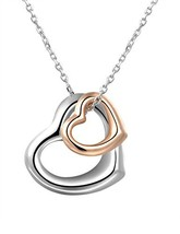 ChooKerr Loving You - 2 Tone Open Heart Necklace Interlocking Love (2 TONE) - $26.73