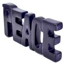 Vaneal Group Hand Carved Soapstone Purple PEACE Free-Standing Word Sign Decor image 2