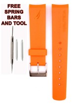 Nautica A16567G 22mm Orange  Diver Rubber Watch Strap Band Anti Allergic... - $28.71