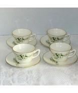 GEORGIAN CHINA SPRING BLOSSOM 4 COFFEE CUPS & SAUCERS 22 kt GOLD USA TEA... - $24.99