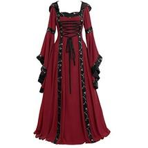 Womens Plus Size Renaissance Medieval Costume Dress Vintage (X-Large|Red) - £56.61 GBP