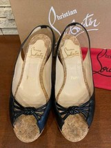 Christian Louboutin Authentic Black Wedge sole Sandals Size 36.5 Used from Japan - $381.99