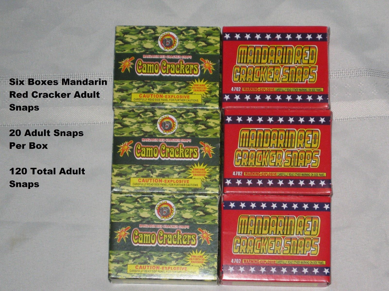 6 Boxes Red Cracker Adult Snaps - 20 Snaps Per Box - Very Loud