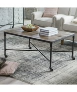 Rectangular Reclaimed Wood Coffee Table Industrial Farmhouse Metal Base ... - $236.84