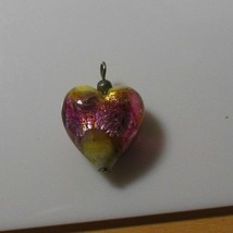 Vintage Foiled Art Glass Heart Pendant  - $15.99