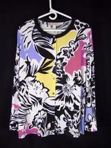 DANA BUCHMAN Tunic XL Stretch Jersey Roll Tab Sleeve Split Side Multicol... - $22.28