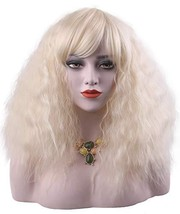 Cosplay Blonde Wigs with Bangs Bob Fluffy Curly Lovely Halloween Party W... - $22.50