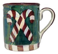 Caribou Coffee Mug Christmas Candy Cane Pearlized Oversized Green Cerami... - $24.98