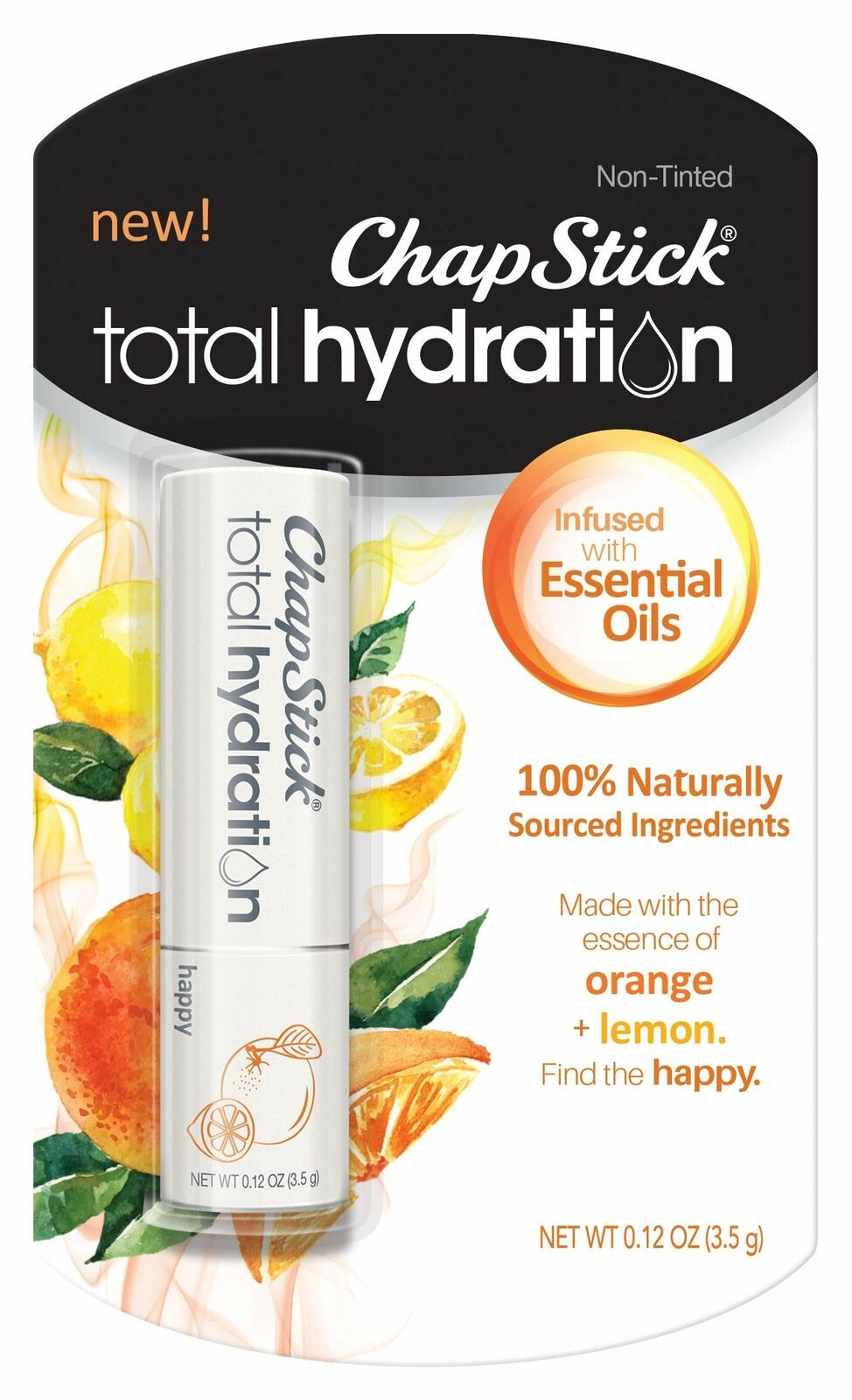 Primary image for ChapStick Total Hydration Essential Oils Lip Balm Happy Orange + Lemon non tint