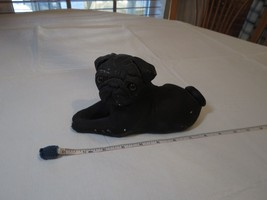 Bandanna 1982 sculptures Black pug vintage resin has damage figure layin... - $62.36