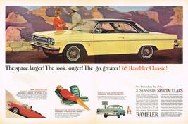 Vintage 1965 2 Page Magazine Ad '65 Rambler Classic Car & Canada Dry - $5.93