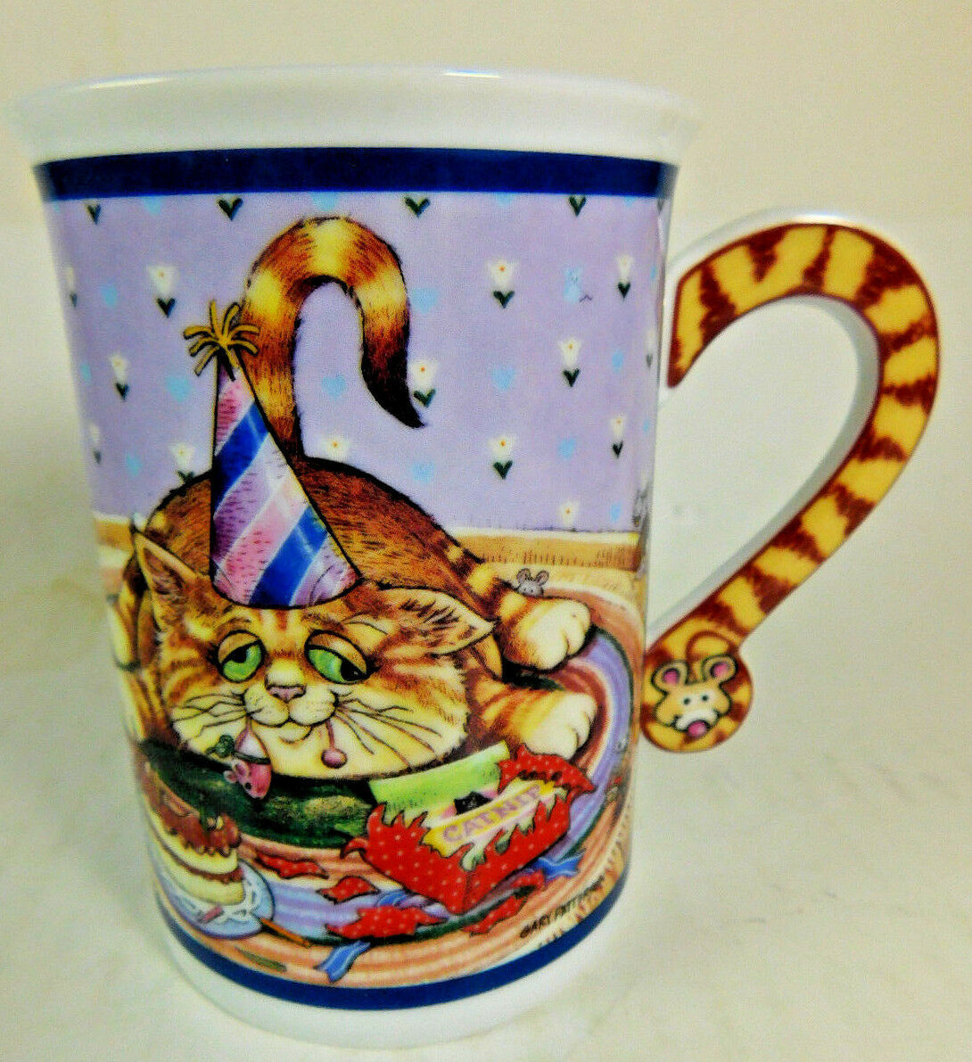 "Danbury Mint Comical Cat COFFEE MUG ""PARTY TIME"" By Gary Patterson  - $3.77"