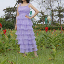 Women Purple Layered Tulle Skirt Outfit Plus Size Romantic Wedding Party Outfit  image 9