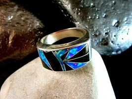 MODERN WESTERN STYLE BLACK OPAL AND ONYX RING - size 12 - $98.01