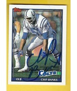 CHIP BANKS AUTOGRAPHED CARD 1991 TOPPS BALTIMORE COLTS - $4.98