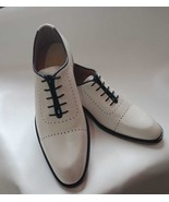 Handmade Men white Party Shoes, Men white leather formal shoes, Men dres... - $164.99