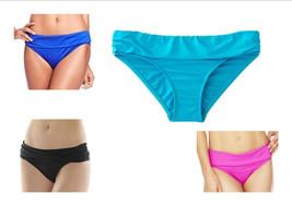 Apt 9 Swim Bikini Ruched Solid Hipster Bottom Black Pink Blue MSRP $40 - $9.99